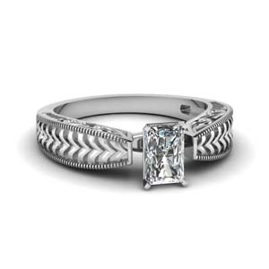 Flat Milgrain Radiant Diamond Ring