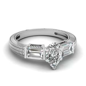 Platinum Pear Engagement Ring