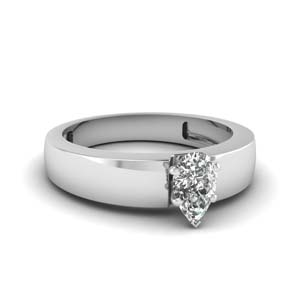Pear Diamond Thick Band Ring