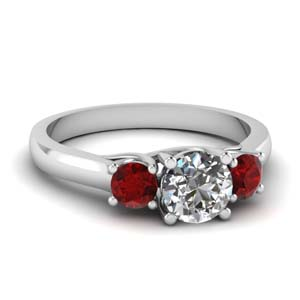 Cathedral Round Cut Ruby Ring