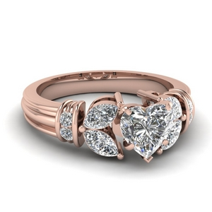 Heart Shaped Rose Gold Side Stone Rings