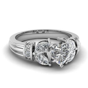 Heart Diamond Petal Style Ring