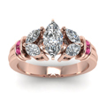 antique design marquise diamond ring with pink sapphire in FDENR2112MQRGSADRPIANGLE5 NL RG