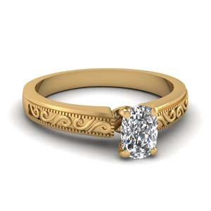 Yellow Gold Cushion Diamond Ring