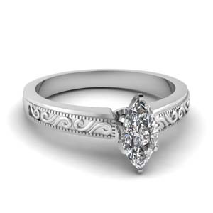 0.75 Carat Engraved Diamond Ring