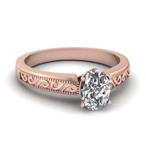 Engraved Oval Diamond Ring