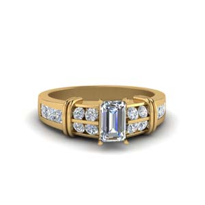 Wide Band With Bar Diamond Ring