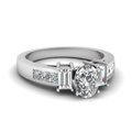 oval shaped diamond modern fit side stone engagement ring in 14K white gold FDENR2350OVR NL WG