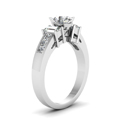 oval shaped diamond modern fit side stone engagement ring in 14K white gold FDENR2350OVRANGLE2 NL WG