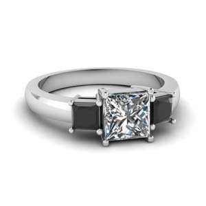princess cut 3 stone engagement ring with black diamond in FDENR2375PRRGblack diamond NL WG