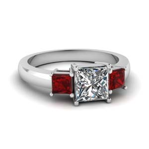 princess cut 3 stone engagement ring with ruby in FDENR2375PRRGRUDR NL WG