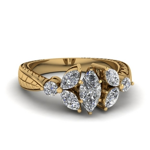 Engraved Petal Diamond Ring