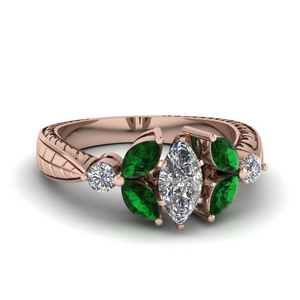 Petal Accent Emerald Ring