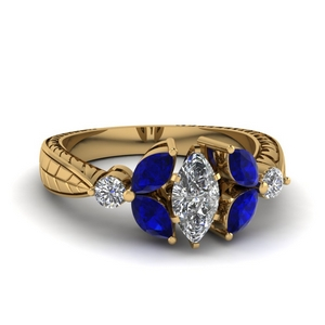 Floral Sapphire Wedding Ring