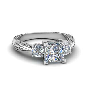 1.25 Carat Engraved 3 Diamond Ring