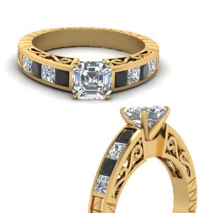 vintage channel set asscher engagement ring with black diamond in FDENR2640ASRGBLACKANGLE3 NL YG