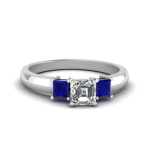 asscher cut glossy basket engagement ring 3 stone with sapphire in FDENR264ASRGSABL NL WG