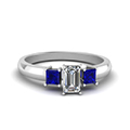 emerald cut three stone glossy diamond engagement ring for women with blue sapphire in 14K white gold FDENR264EMRGSABL NL WG