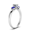 emerald cut three stone glossy diamond engagement ring for women with blue sapphire in 14K white gold FDENR264EMRGSABLANGLE2 NL WG
