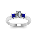 emerald cut three stone glossy diamond engagement ring for women with blue sapphire in 14K white gold FDENR264EMRGSABLANGLE5 NL WG