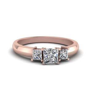 0.50 Ct. diamond three stone princess cut engagement ring in 14K rose gold FDENR264PRR NL RG