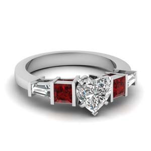 Heart Shaped Diamond Ring With Ruby