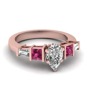 Pear Shaped Bar Diamond Ring