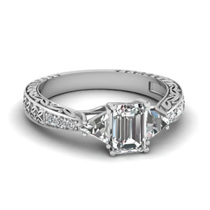 Engraved Trillion Diamond Ring