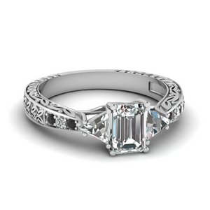 antique trillion and emerald cut engagement ring with black diamond in FDENR2887EMRGBLACK NL WG.jpg