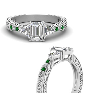 antique-trillion-and-emerald-cut-diamond-engagement-ring-with-emerald-in-FDENR2887EMRGEMGRANGLE3-NL-WG