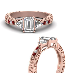 Ruby Rose Gold Antique Diamond Ring