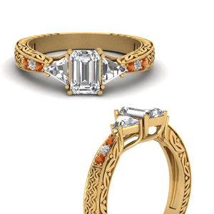 Orange Sapphire Engraved Gold Ring