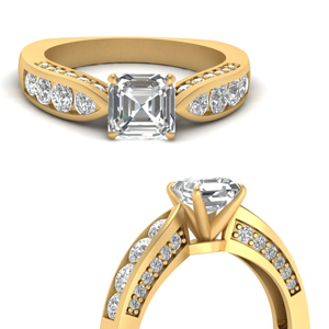 Tapered Asscher Diamond Ring