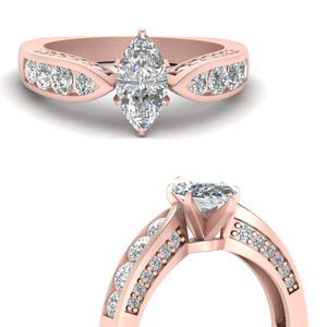 Tapered Marquise Channel Set Vintage Ring
