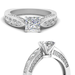 Tapered Princess Cut Pave Ring