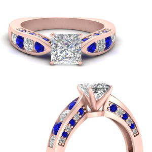 Sapphire Channel And Pave Ring