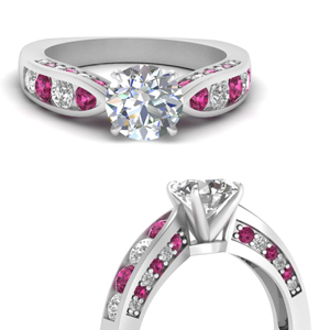 Pink Sapphire Pave Set Ring