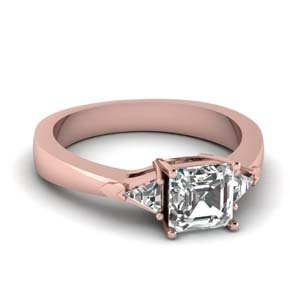 14K Rose Gold 3 Stone Trillion Ring