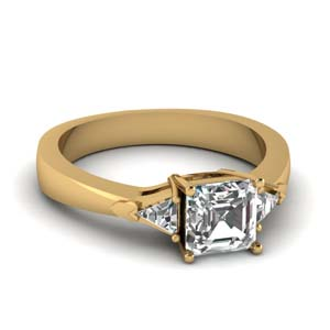 18K Yellow Gold Asscher Cut 3 Stone Ring