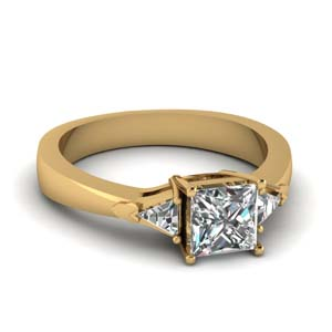 14K Yellow Gold Princess Cut Ring