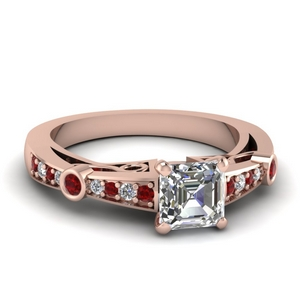 asscher cut diamond tapered vintage engagement ring with ruby in FDENR3142ASRGRUDR NL RG