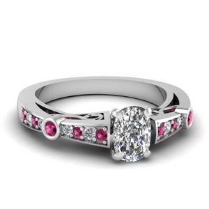 Pave Pink Sapphire Tapered Ring