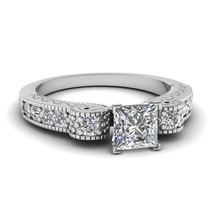 Engraved Antique Pave Diamond Ring
