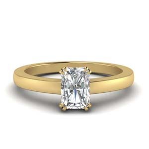 Double Prong Diamond Gold Ring