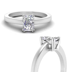 Double Prong Radiant Moissanite Ring