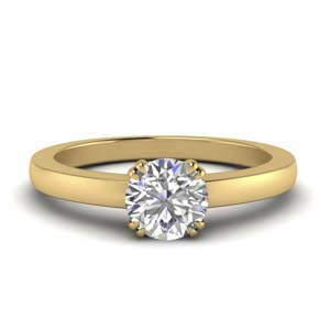 Double Prong Single Diamond Ring