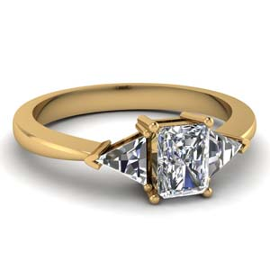 Moissanite Cathedral Ring With Trillion