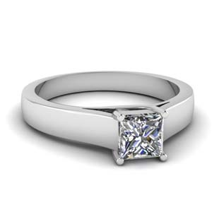 princess cut diamond finesse solitaire engagement ring in 14K white gold FDENR431PRR NL WG