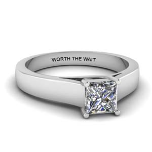 princess cut personalized solitaire wide engagement ring in 14K white gold FDENR431PRR NL WG EG