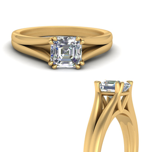 Split Double Prong Asscher Cut Ring
